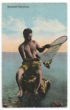 1910 Hawaiian Postcard showing Hawaiian Fisherman w/ Net