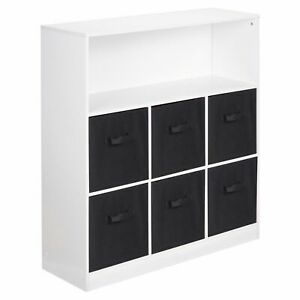 Wooden White Wide 7 Cubed Cupboard Storage Unit Shelves 6 Black Drawers Baskets