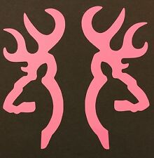 2 NEW PINK BROWNING DEER BUCK DOE DECAL STICKER LOGO EMBLEM BOW RIFLE SHOOTING