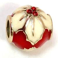 Brighton Poinsettia Stopper Bead J96342 Red & White Enamel Finish, New