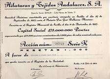 Acción de Hilaturas y Tejidos Andaluces S.A. Sevilla año 1964 (DT-639)