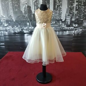 Girls Dress (Gold-Age 5-6 Years) Flower-Girl, Party, Prom, Christening, Formal