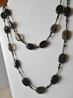 Vintage Black / Gray Glass Beaded Necklace