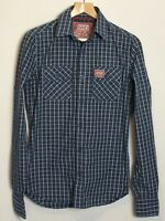 Men's Superdry Blue Check Cotton Shirt Size S Long Sleeves Smart Casual
