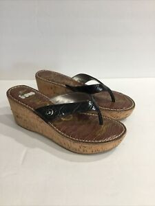Sam Edelman ROMY Wedge Croc Black Cork Heel Sandals Shoes Size 7.5