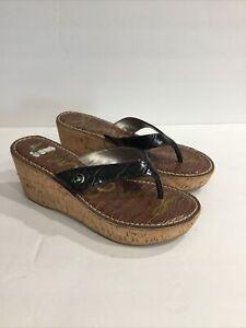 Sam Edelman ROMY Wedge Croc Black Cork Heel Sandals Shoes Size 7.5