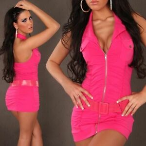 Womens Sexy Halterneck Deep V Bodycon Summer Party Mini Dress size 8 10 Belt Zip