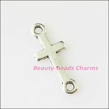 25Pcs Antiqued Silver Tone Smooth Cross Charms Pendants Connectors 8x20mm