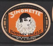 Ancienne étiquette Bière ?  Alcool France Simonette Limonade  ?
