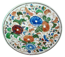 """24"""" White Marble Marquetry Center Table Top Mosaic Floral Art Occasional  Decor"""