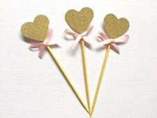20 Gold Glitter Heart Cupcake Toppers With Pink Bow, Wedding, Bridal Shower