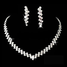 WHITE CRYSTAL SAPPHIRE ADJUSTABLE NECKLACE & STUD EARRINGS SET SILVER PLATED