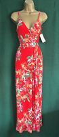 New MONSOON Coral Red Floral CALLIE Stretch Jersey Holiday MAXI Dress 10 12 16