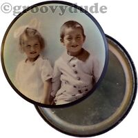 Vintage 1900's Young Children Boy Girl Celluloid Tinted Pink Photo Pocket Mirror