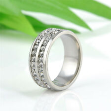 Sz8-10 Unisex Crystal Stainless Steel Ring Men/Women's Wedding Band Silver/Gold