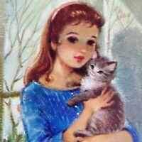 Vintage Birthday Greeting Card Pretty Brunette Girl Blue Dress Kitten Cat