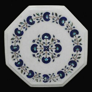 15 Inches Marble Coffee Table Top Inlay Floral Pattern Bed Side Table for Room