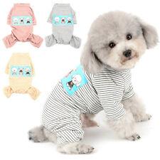 Doggie Print Striped Cotton Dog Pajamas PJS Small Dog Jumpsuit Pet Puppy Clothes