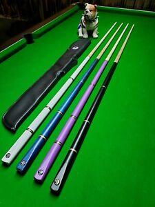 Multi Length Combi adjustable Pool snooker Cue Child Adult Colour Choice & case