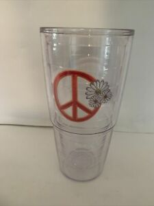 Pink Tervis Tumbler No Lid 24 Oz Daisy flowers pink peace sign