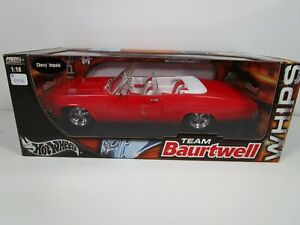 HOT WHEELS 1/18 TEAM BAURTWELL RED 1965 CHEVY IMPALA SS LOWRIDER NEW *ISSUE*