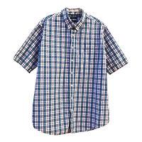 Croft & Barrow XL Tall Short Sleeve Button Down Shirt Easy Care Blue White Plaid