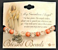 Guardian Angel Pink Beaded Bracelet with Angel & Cross Charms NEW Catholic Faith