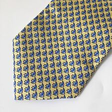 Joseph & Lyman Men's Fish Neck Tie 100% Silk Made in USA Blues/Yellow Geometric