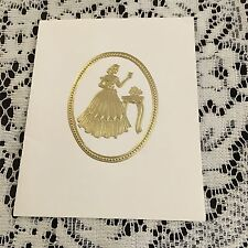 Vintage Greeting Card Christmas Gold Woman At Desk Table