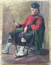 "Scottish Highlander Oil on Canvas Board Impressionist Painting 12""x16"""
