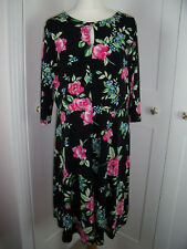 stretch skater a line dress size 20 nearly new black pink floral by Very