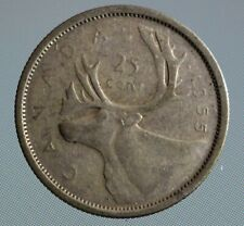 Canada 1955 quarter this 80% silver 25 cent coin has been circulated