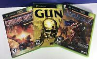 3 Game Lot for Microsoft Original XBOX Gun Halo 2 & Crimson Skies all Complete
