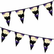 6m Full Moon Black Cat Plastic Banner Party Decoration Garland Halloween Bunting