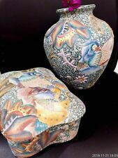 Chinese Pattery Vase Pot jewelry box with Birds set Collectible