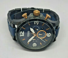 Mens Fossil Nate Chronograph Large Blue Dial Watch JR-1494