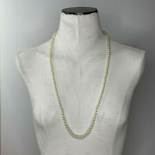 Long single strand faux pearl necklace natural ocean earthy