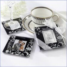 2x White Wedding Glass Photo Coaster Bomboniere Favors Black Paris Fleur Pattern