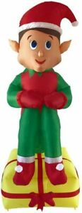 CHRISTMAS 7 FT ELF ON PRESENT INFLATABLE AIRBLOWN YARD DECORATION
