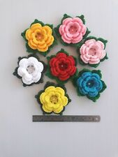 New listing 3D Larger 20 pcs Handmade crochet flower 9 cm multi-color