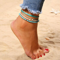 Ladies Foot Chain Beach Anklets Silver Beaded Rope Multilayer Ankle Bracelet AL