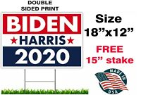 "JOE BIDEN KAMALA HARRIS 2020 YARD SING 18"" x 12"" TWO SIDED PRINT WITH STAKE USA"