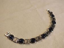 "Beautiful Clasp Bracelet Silver Tone Dark Blue Cat Eye Cabochons 7 1/2"" NICE"