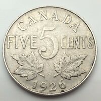 1926 Canada Near 6 Five 5 Cents Canadian Nickel Circulated Coin C681z