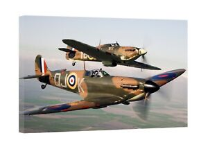 Spitfire RAF Air Force Plane Canvas Wall Art Picture Print Christmas Framed Gift