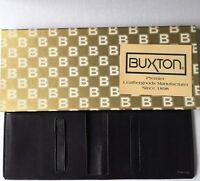 Buxton Black Leather Cowhide Wallet New Box Vintage Soft Bifold Gift