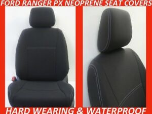 FITS FORD RANGER PX MK 2 FRONT NEOPRENE SEAT COVERS FULL COVERAGE MAP POCKETS x4