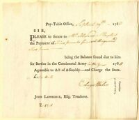 War Payment Order for Service in the Continental Army