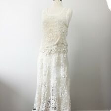Nwt Lim's Womens Sz M Vintage Hand Crocheted Lace Skirt Top Set Cream