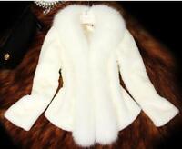 Womens Short Faux Fox Fur Collar Mink Fur Coat Fashion Casual Jacket Outwear New